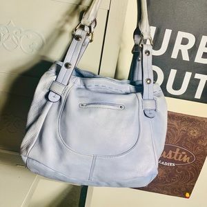 B. Makowski Light Blue Lether Hobo Bag EUC